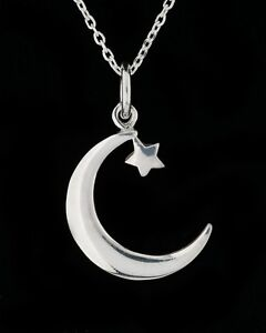 Solid 925 Sterling Silver Moon Pendant Necklace Star Crescent