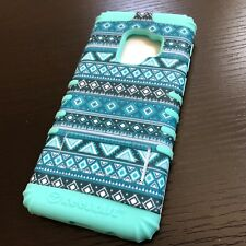 For Samsung Galaxy S9 - Hard Hybrid Armor Case Cover Mint Blue Teal Aztec Tribal