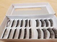 10 Pairs of False Fake Real Hair Like Eyelashes Eyelas Lashes Makeup Mascara UK