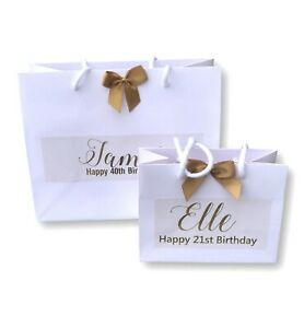 Personalised printed Birthday Gift Bag 18th 21st 30th 40th 50th 60th gold print