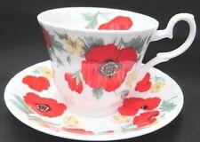 Roy Kirkham Fine English Bone China Tea Cup & Saucer MONET POPPIES
