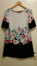 NEW Border Print Floral shift dress, size 12-14