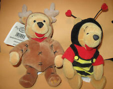 "TWO winnie the pooh Dress Up 8"" PLUSH TOYS toy as Bumble BEE & REINDEER costume"