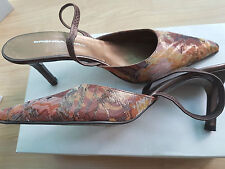 BRENDA ZARO Brown mix Italian Pointed slingback shoes size 7 EU 40 RRP£99 Boxed
