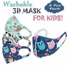 3PK Boys Girls Face Mask Kids Toddler Reusable Washable Cover Breathable Popular