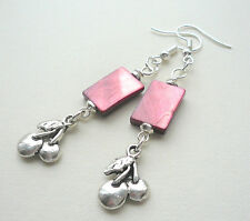Cherry Pink MoP Shell Silver Cherry Fruit Dangle Earrings    KCJ2654