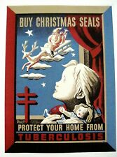"1943 Poster ""Buy Christmas Seals"" Tuberculosis Poster w/ Santa & Little Girl  *"