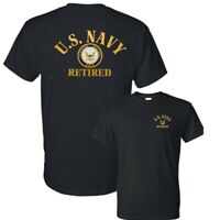 U.S. Navy Retired Military Veteran Patriotic Front Back Tee T-Shirt New