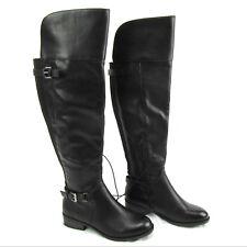 d59195d7d252 Merona Tall Over Knee Riding Boots Low Heel Zipper Buckles Elastic Size 6  Black