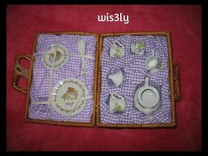 Vintage Delton Products Porcelain Yellow Lilac Pansy Flowers Tea Set for 2