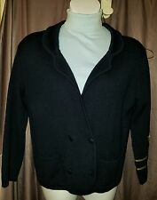 Italian Navy Blue Knit Cardigan Sweater -  Wool Blend - EUC embroidered M size 8