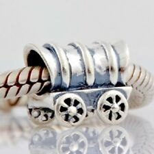 Wild West Wagon Carriage Charm Bead 925 Sterling Silver