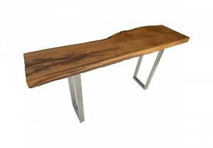 """63"""" Console Table Solid Burl Wood Top Stainless Steel Base Live Edge Modern"""