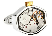Watch Movement Steampunk Hexagon Cufflinks Wedding Fancy Gift Box Free Ship USA