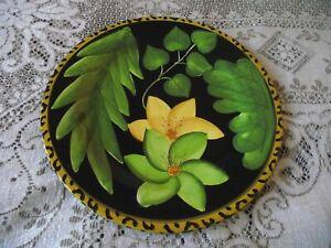 Laurie Gates Ceramic Floral Foliate & Leopard Print Large 12 inch Plate