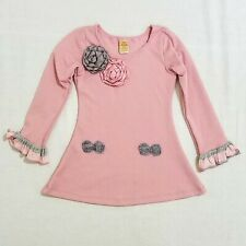 BMB Couture 5Y Pink Long Sleeve Dress with Ribbon Flowers and Bows