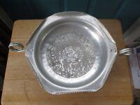Vintage Hammered Aluminum Pedestal Handled Bowl with Interior Fruit Design