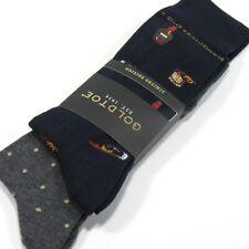 GOLD TOE Men's Socks Polka Dot & Old Fashioned Cocktail 2 Pairs Navy & Gray NWT