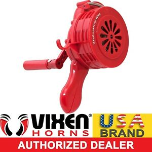 HANDHELD LOUD HAND CRANK MANUAL OPERATED AIR RAID ALARM PORTABLE SIREN RED