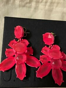 j crew earrings faceted crystal Hot Pink
