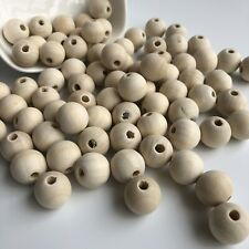 25X Unfinished Unpainted Wood Beads 16mm Round Beige Macrame Natural Wooden Bead
