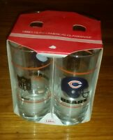 NEW Lot of 4 Vintage Chicago Bears Mobil gas station 15 oz NFL glass set LIBBEY