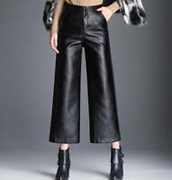 Womens Lady Faux Leather Black Wide Leg Cropped Pants High Waist Casual Trousers