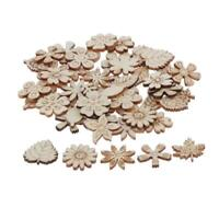 50pcs Flower Wooden Slices Wood Embellishments Pendants for Crafts Supplies