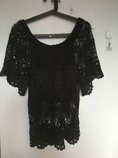 Seed black crochet short sleeve top in size XS