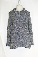 KATE HILL Cowl Neck Tunic Sweater MEDIUM PETITE Black White Wool BL Long Sleeve