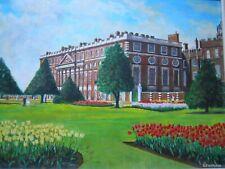 Ala este palacio de Hampton Court jardines original al óleo sobre tabla 1960s G F Warland