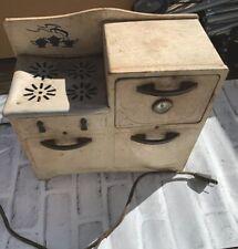Vintage Child's METAL ELECTRIC TOY 4-burner Stove Oven  WORKS