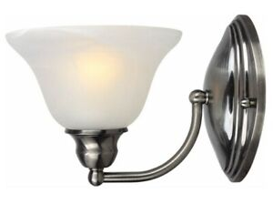 Sconce Wall Light Fixture Brushed Chrome Finish with Alabaster Glass