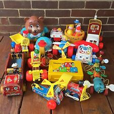 Vintage Fisher Price HUGE Lot of 14 Toddler Toys Phone Tractor Shoe Helicopter