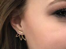 Flower Ear Jackets Lotus Small Bar Gold Climber Earrings Double Sided