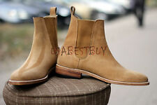 New Pure Handmade Mens Mono Tone Chelsea Suede Boots, Men Suede boots