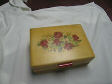 Vintage Jewelry or Cosmetic Wooden Box w/Mirror in Lid