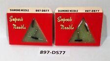 (2 PACK) NEW DIAMOND NEEDLE STYLUS 897-DS77 DUAL NEEDLE ZENITH  68566, 68567