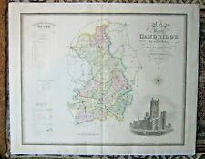 1834 Greenwood Cambridge Genuine Antique Large 81x64cms Cambridgeshire Ely RARE