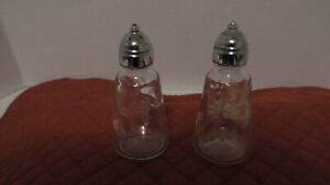 "Princess House Crystal Heritage Pattern Salt and Pepper Shakers 4 1/4"" Retired"