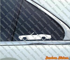2x Lowered car outline stickers -for 1970 Mercury Cougar Convertible