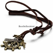Retro Bronze Tone Cross Rudder Pirate Anchor Necklace w Adjustable Leather Chain