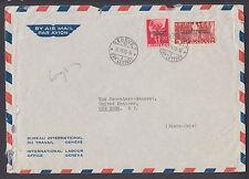 Switzerland Sc 3O75, 3O80 on 1955 ILO Geneva cover to UN Secretary General, NY