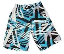 Boys Zeroxposur Aqua/Black/White Cargo Style Swim Trunks Shorts M 10/12