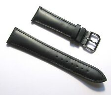 20mm Quality Genuine Leather Padded Black Watch Band - Size Regular