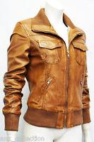 Portland Tan Ladies Woman's Bomber Washed Real Sheep Lamb Napa Leather Jacket