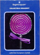 PURPLE LOLLIPOP Enamel Metal Swirl Ornament Regent Square Christmas Candy NIB