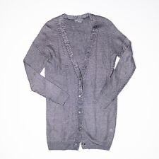 Vince Linen Blend Long Line Silver Gray Knit Button Front Cardigan Sweater XS