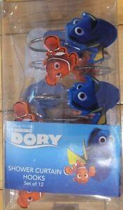 Disney Pixar Finding Dory Shower Curtain Hooks Set of 12 Blue + Orange Fish New