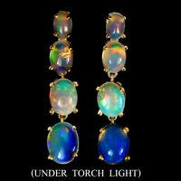 Unheated Oval Fire Opal Rainbow Full Flash 9x7mm 925 Sterling Silver Earrings